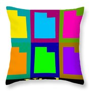 Colorful Utah State Pop Art Map Throw Pillow