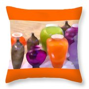 Colorful Vases I - Still Life Throw Pillow