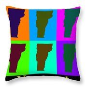 Colorful Vermont Pop Art Map Throw Pillow