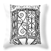 Colorful Vibrant Red Green Gothic Sconce Light Black And White Stamp Digital Art Throw Pillow