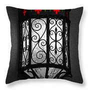 Colorful Vibrant Red Green Gothic Sconce Light Poster Edges Color Splash Digital Art Throw Pillow