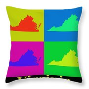 Colorful Virginia State Pop Art Map Throw Pillow