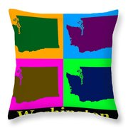 Colorful Washington State Pop Art Map Throw Pillow