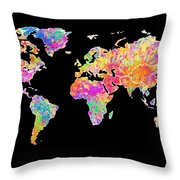 Colorful Watercolor World Map Throw Pillow