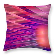 Colorful Waves Abstract Fractal Art Throw Pillow