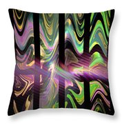 Colorful Waves And Stripes Fractal Art Throw Pillow