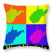 Colorful West Virginia Pop Art Map Throw Pillow
