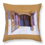 Colorful Window Shutters Throw Pillow