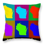 Colorful Wisconsin Pop Art Map Throw Pillow