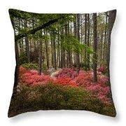 Colorful Woodland Azalea Garden Throw Pillow