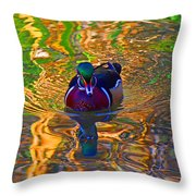 Colorful World Of Wood Duck Throw Pillow