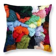 Colorful Yarn Otavalo Market Ecuador Throw Pillow