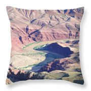 Colorodo River Flowing Through The Grand Canyon Throw Pillow