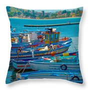 Colors Of A Fishing Fleet Throw Pillow