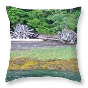 Colors Of Alaska - Layers Of Greens Throw Pillow