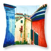 Colors Of My Village Throw Pillow