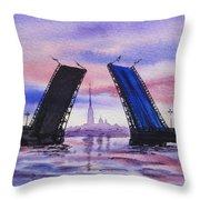 Colors Of Russia Bridges Of Saint Petersburg Throw Pillow