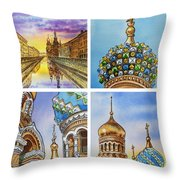 Colors Of Russia Church Of Our Savior On The Spilled Blood  Throw Pillow