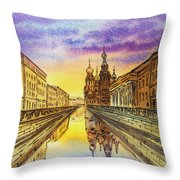 Colors Of Russia St Petersburg Cathedral I Throw Pillow by Irina Sztukowski