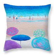 Colors Of Summer Beach Painting Throw Pillow