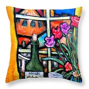 Colosi Wine With Flowers Throw Pillow by Chaline Ouellet