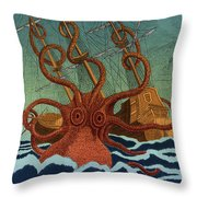 Colossal Octopus Attacking Ship 1801 Throw Pillow