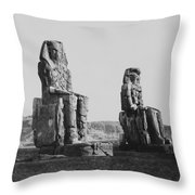 Colosses Of Thebes - 1851 Throw Pillow by Daniel Hagerman