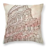 Colosseum Hand Draw Throw Pillow
