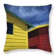 Coloured Beach Huts Throw Pillow