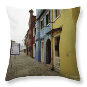 Coloured Houses In Burano Throw Pillow