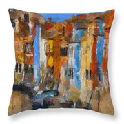Coloured Houses On Burano Throw Pillow