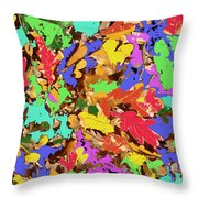 Coloured Oak Leaves By M.l.d. Moerings 2009 Throw Pillow
