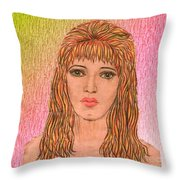 Coloured Pencil Self Portrait Throw Pillow by Joan-Violet Stretch