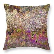 Colourful Almond Trees Throw Pillow