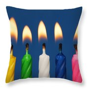 Colourful Candles Lit Throw Pillow