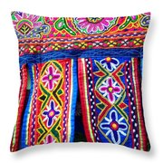 Colourful Fabric Art Throw Pillow