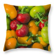 Colourful Mini Bell Peppers Throw Pillow