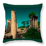 Colourful Ruins Throw Pillow