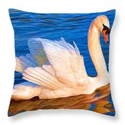 Colourful Swan Throw Pillow