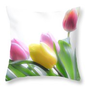 Colourful Tulips That Are Digitally Softened Throw Pillow