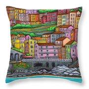 Colours Of Manarola Throw Pillow