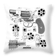 Colt Revolver Patent Art 3  -  1881  Throw Pillow