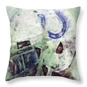 Colts Player Helmet Abstract Throw Pillow