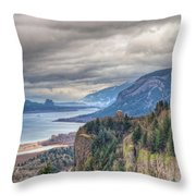 Columbia River Gorge Scenic View In Oregon Throw Pillow
