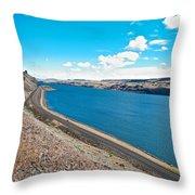 Columbia River Rolls On Between Oregon And Washington  Throw Pillow