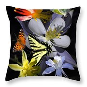 Columbine And Butterfly Collage Throw Pillow