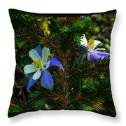 Columbine Flowers And Pine Tree Throw Pillow