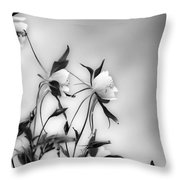 Columbines In Black And White Throw Pillow