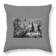 Columbus And The Lunar Eclipse, 1504 Throw Pillow