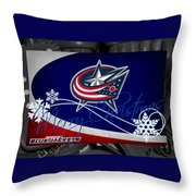 Columbus Blue Jackets Christmas Throw Pillow